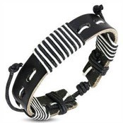 "Läderarmband ""Black/White"""