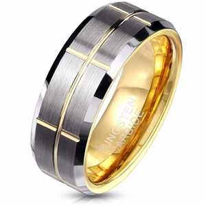 Guldpläterad Tungsten Carbid ring