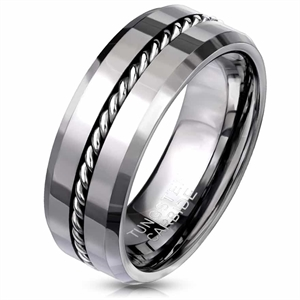 K4 Tungsten Ring med kedja